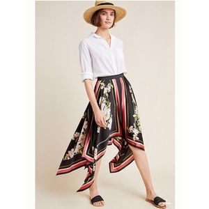 Anthropologie Jacqueline Asymmetrical Midi Skirt